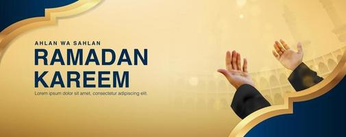 Ramadan Kareem de fundo vector com macho orando levantando ambas as mãos, design realista 3D