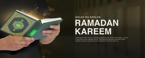 Ramadan Kareem remplate com 3d homem realista lendo Alcorão
