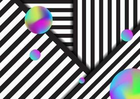 linhas abstratas listradas em preto e branco padrão de fundo com elementos de cores vibrantes fluidas de círculos. vetor