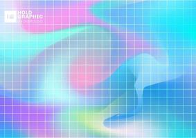 fundo liso iridescente holográfico abstrato com padrão de grade. vetor