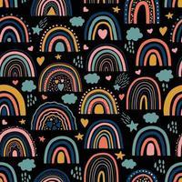 padrão sem emenda do arco-íris no preto vetor