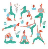 8 mulheres nas poses de ioga em cores sobre fundo branco. poster contemporâneo de tendência. personagens isolados.