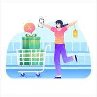 as mulheres adoram fazer compras com cupons de desconto vetor