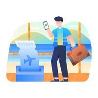 homem compra passagem via smartphone vetor