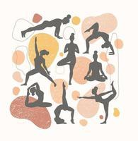 contornos de mulheres nas poses de ioga em um fundo de linhas e formas diferentes. poster contemporâneo de tendência. vetor