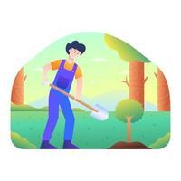 homem plantando uma semente de árvore com uma pá vetor
