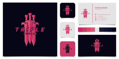 logotipo do jogo triple swords com cartão de visita