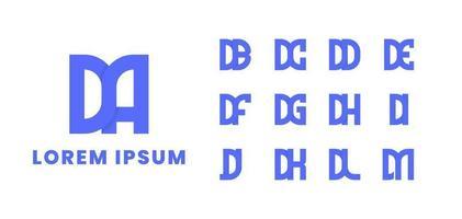 conjunto de logotipo monograma inicial sobreposto vetor