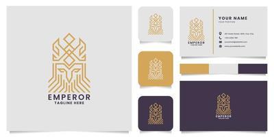 modelo de cartão de visita do logotipo do pictograma ouro linha rei vetor