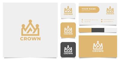 logotipo de coroa simples e minimalista com modelo de cartão de visita vetor