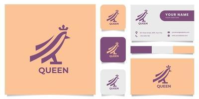 pássaro simples e minimalista usa o logotipo da coroa com modelo de cartão de visita vetor