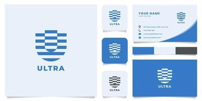 logotipo da letra u com modelo de cartão de visita vetor