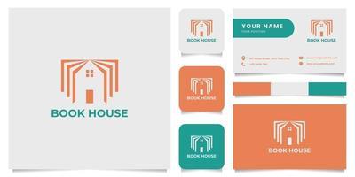 Logotipo da casa do livro simples e minimalista com modelo de cartão de visita vetor
