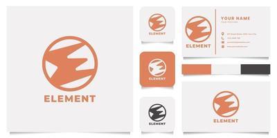 logotipo do emblema da letra e com modelo de cartão de visita vetor