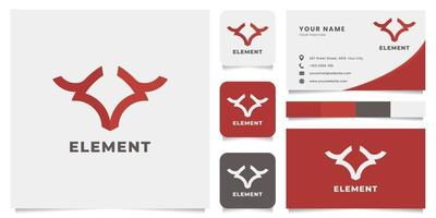 logotipo de touro simples e minimalista com modelo de cartão de visita vetor