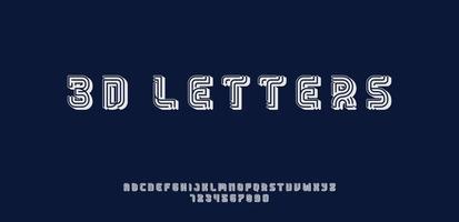 Fonte 3D ou tipo de letra e número com linha vetor