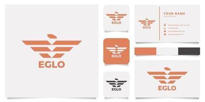 logotipo da águia com modelo de cartão de visita vetor
