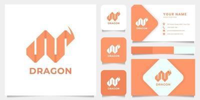 logotipo de origami de dragão com modelo de cartão de visita vetor
