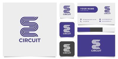 logotipo do circuito de corrida de pista com modelo de cartão de visita vetor