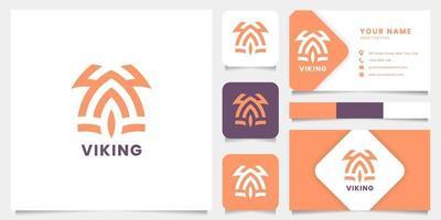 logotipo de capacete viking simples e minimalista com modelo de cartão de visita vetor