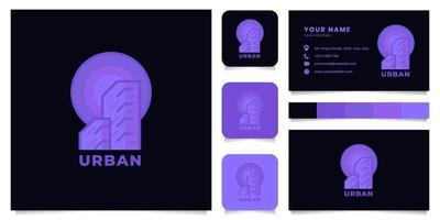 construção de logotipo com modelo de cartão de visita vetor