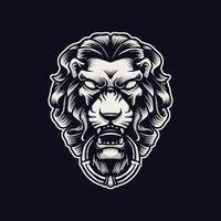 ilustração de ornamento de cabeça de leão vetor