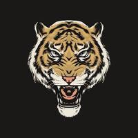 cabeça de tigre rugindo vetor