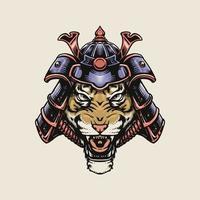 tigre usando capacete de samurai vetor