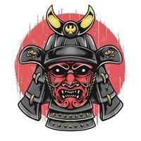 cabeça de samurai com máscara oni vetor