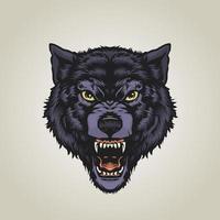 ilustração de lobo zangado vetor