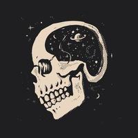 espaço na cabeça do crânio vetor