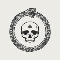 crânio ouroboros desenhado à mão vetor