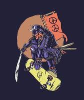 samurai skate com símbolo da paz vetor