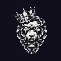 ilustração da cabeça do rei leão com coroa vetor