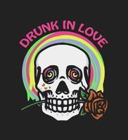 crânio pingando bêbado de amor vetor