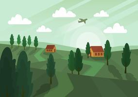 Vetorial, verde, paisagem, ilustração vetor