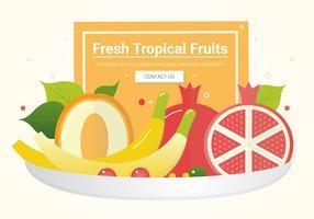 Ilustração de tigela de frutas de vetor
