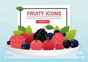 Ícones de frutas frescas de vetor