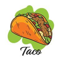 Taco, Menu de comida mexicana vetor