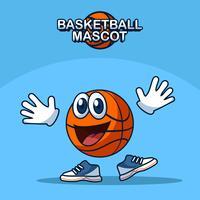 Vetor de mascote de basquete a sorrir