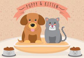Filhotes de cachorro e gatinhos ilustração vetorial