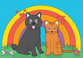 Filhotes de cachorro e gatinho ilustração vetorial