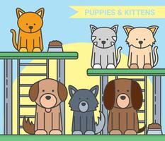 Filhotes de cachorro e gatinho ilustração vetorial vetor