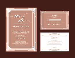 Cartão de casamento Art Deco vetor