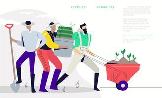 Diversão agricultura em ilustração em vetor fundo bandeira dia da árvore