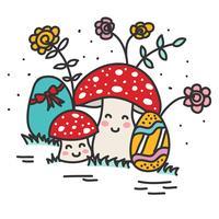 Doodle Ovos De Páscoa E Cogumelos vetor