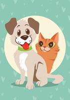 Filhotes De Cachorro E Gatinhos vetor