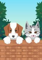 Filhotes de cachorro e gatinhos retrato vetor