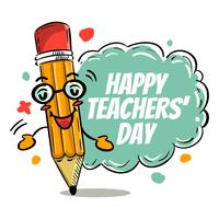 Dia do professor de saudação de lápis vetor