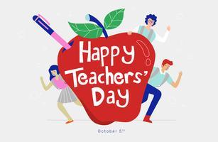 Tipografia de dia divertido professores na ilustração vetorial de maçã vermelha vetor